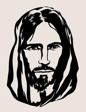 Ilustración de Jesus Face Silhouette, art vector design - Imagen libre de derechos