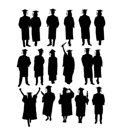 Illustration pour Happy Graduation , Silhouettes, art vector design - image libre de droit