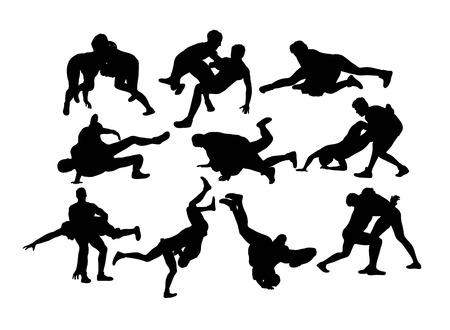 Illustrazione per Wrestling Sports Silhouette, art vector design - Immagini Royalty Free