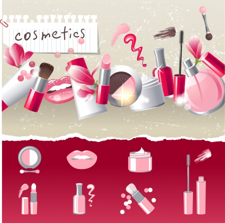 Photo for Glamourous make-up border with 7 stylized icons - Royalty Free Image