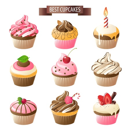 Illustration pour Set of 9 colorful cupcakes - image libre de droit