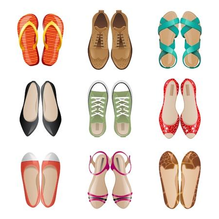 Ilustración de Set of 9 woman shoes icons - Imagen libre de derechos