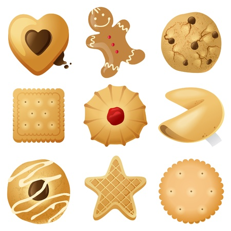 Illustration pour 9 highly detailed cookies icons - image libre de droit