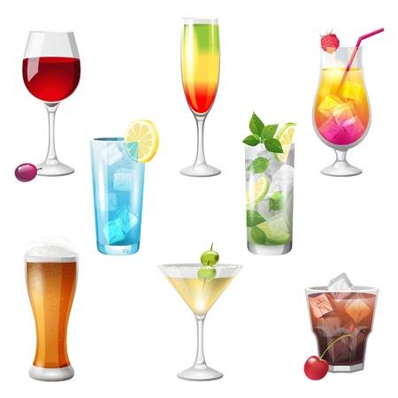 Ilustración de 8 highly detailed cocktails icons - Imagen libre de derechos