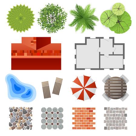 Ilustración de Highly detailed landscape design elements - easy to make your own plan!  - Imagen libre de derechos