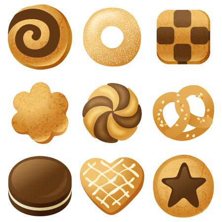 Illustration pour 9 highly detailed cookies icons - image libre de droit