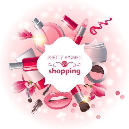 Illustration pour Glamourous make-up background - image libre de droit