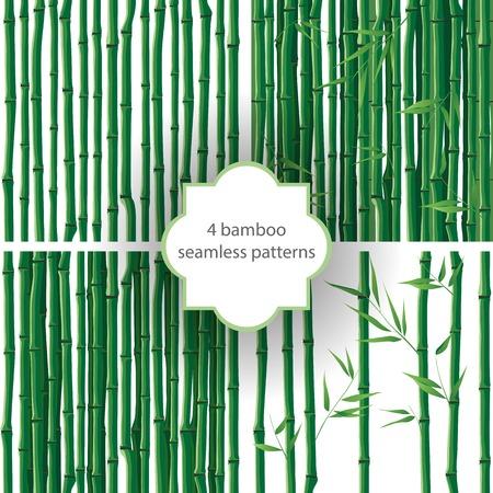 Illustration pour 4 bright seamless bamboo patterns - image libre de droit