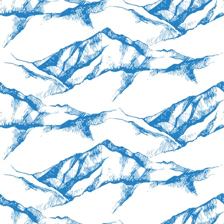 Illustration pour hand drawn mountain seamless pattern - image libre de droit