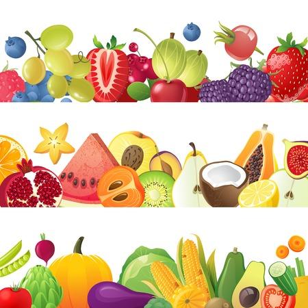 Foto per 3 fruits vegetables and berries horizontal borders - Immagine Royalty Free