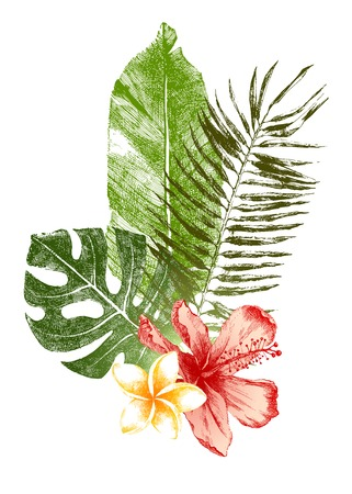 Illustration pour Set of hand drawn tropical leaves and flowers in color - image libre de droit
