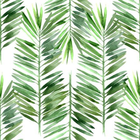 Illustration pour watercolor palm tree leaf seamless pattern - image libre de droit