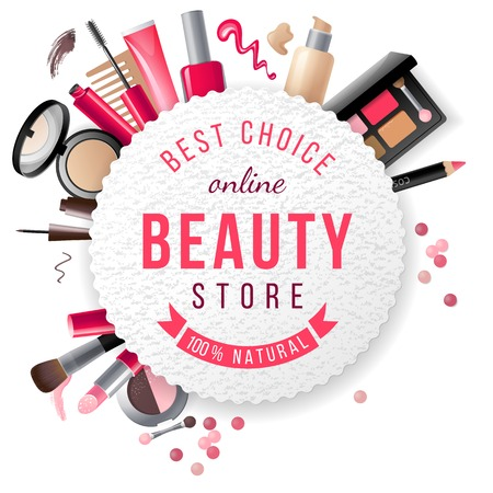 Illustration pour beauty store emblem with type design and cosmetics - image libre de droit