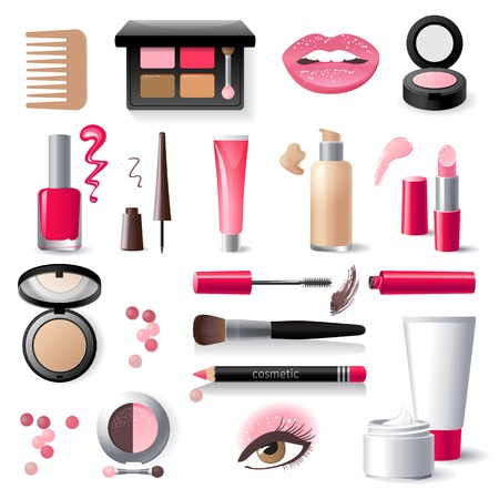 Illustration pour highly detailed cosmetics icons set - image libre de droit