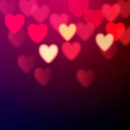 Illustration pour Shiny hearts bokeh Valentine\'s day background - image libre de droit