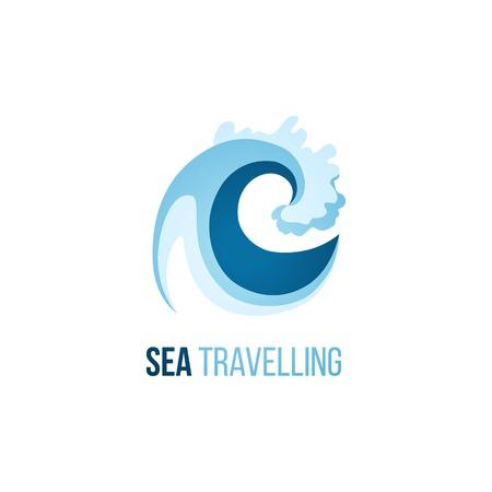 Ilustración de Sea trevelling logo template with wave on white background - Imagen libre de derechos