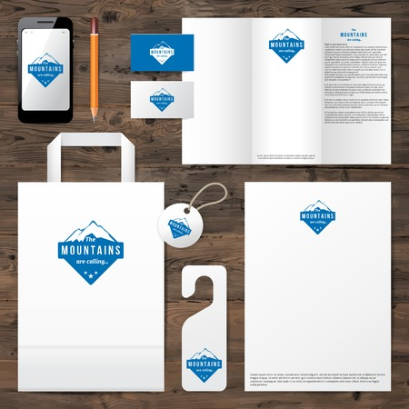 Illustration pour Identity template with mountain logo design over wooden background - image libre de droit