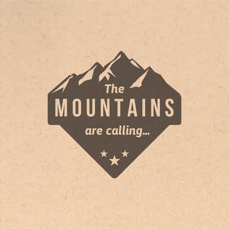 Illustration pour Mountain label with type design in vintage style - image libre de droit