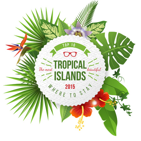 Illustration pour Advertising emblem with type design and tropical flowers and plants - image libre de droit