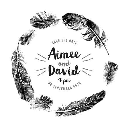Illustration pour Hand drawn feathers wreath with save the date type design - image libre de droit