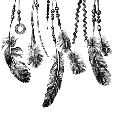 Ilustración de Tribal theme background with hand drawn feathers - Imagen libre de derechos