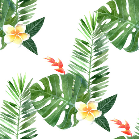 Illustration pour hand drawn watercolor tropical plants seamless - image libre de droit