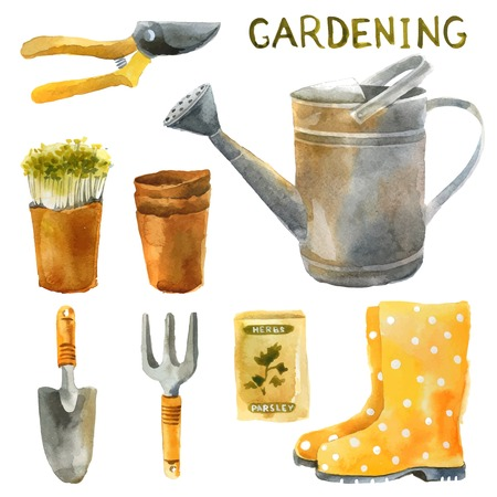 Illustration for Hand drawn watercolor gardening set - Royalty Free Image