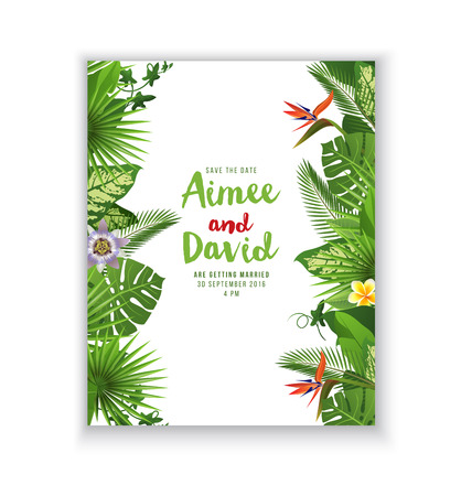 Illustration pour Save the date card with tropical plants and flowers - image libre de droit