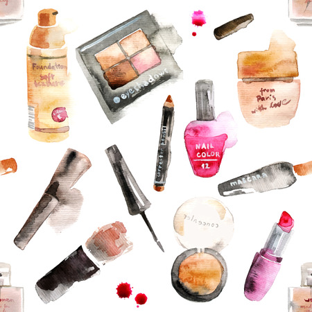 Illustration pour Glamorous make up watercolor cosmetics background - image libre de droit