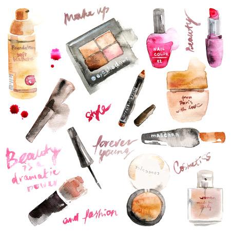Illustration pour Glamorous make up watercolor cosmetics - image libre de droit