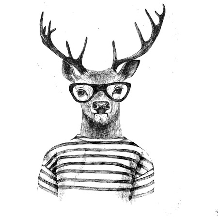 Illustrazione per Hand drawn dressed up deer in hipster style - Immagini Royalty Free