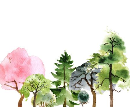 Illustration pour Hand drawn watercolor trees over white background - image libre de droit