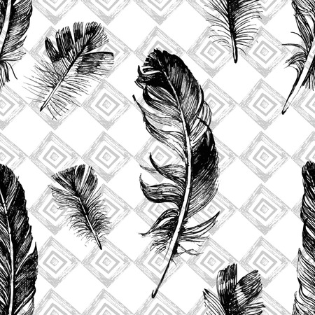 Illustration pour seamless pattern with hand drawn feathers on geometrical background - image libre de droit