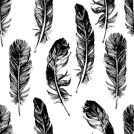 Illustration pour seamless pattern with hand drawn feathers - image libre de droit