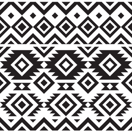 Illustration for black and white geometry tribal seamless pattern - Royalty Free Image