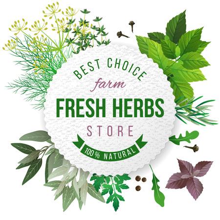 Ilustración de Fresh herbs store emblem - easy to use in your own design - Imagen libre de derechos