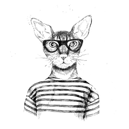 Illustrazione per Hand drawn dressed up hipster cat on white background - Immagini Royalty Free