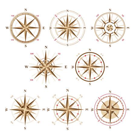 Ilustración de 8 wind rose icons in vintage style - Imagen libre de derechos