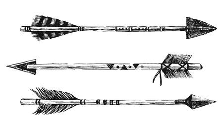 Ilustración de arrows in tribal style on white background - Imagen libre de derechos