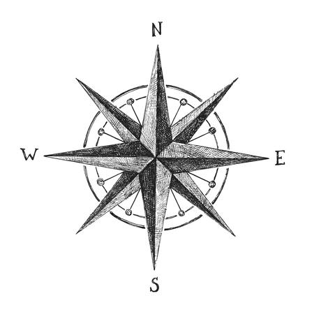 Ilustración de hand drawn black and white wind rose - Imagen libre de derechos