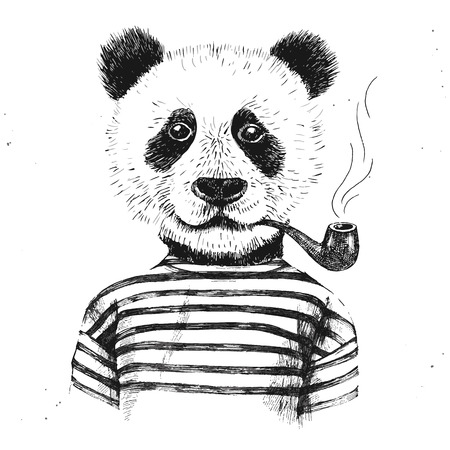 Illustration pour Hand drawn Illustration of dressed up hipster panda with pipe - image libre de droit