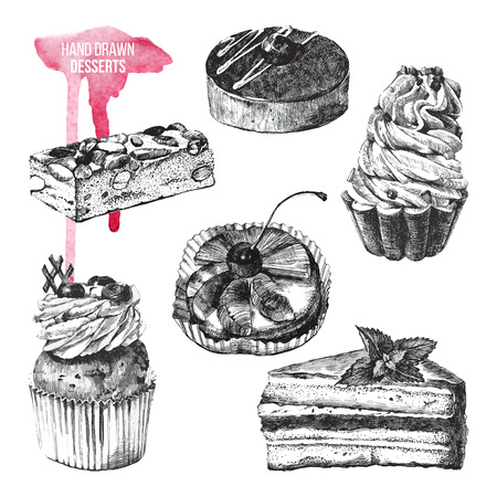 Illustration pour set of 6 black and white hand drawn desserts - image libre de droit
