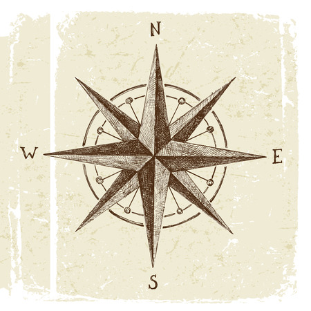 Illustration pour hand drawn wind rose in vintage style - image libre de droit
