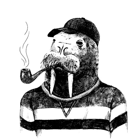 Photo pour Hand drawn dressed up walrus in hipster style - image libre de droit