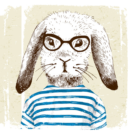 Illustration pour hand drawn illustration of dressed up bunny - image libre de droit