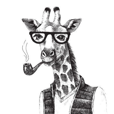 Ilustración de Hand drawn Illustration of dressed up giraffe hipster - Imagen libre de derechos