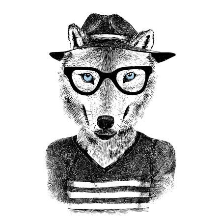 Ilustración de Dressed up hand drawn wolf hipster - Imagen libre de derechos