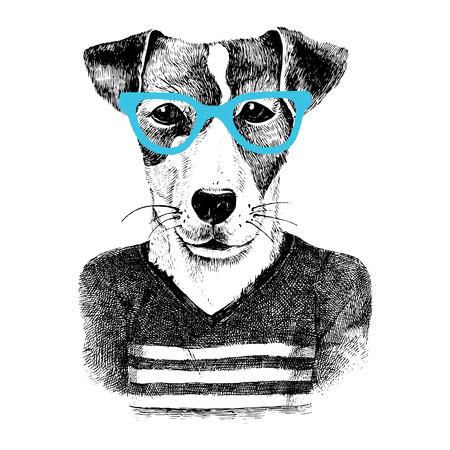 Ilustración de Hand drawn dressed up dog in hipster style - Imagen libre de derechos