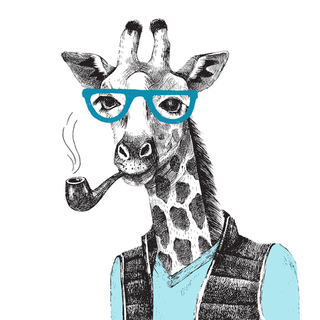 Illustration pour Hand drawn Illustration of dressed up giraffe hipster - image libre de droit