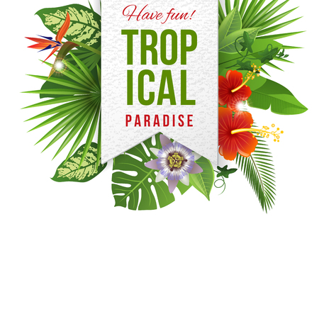 Illustration pour Paper emblem with type design and tropical flowers and plants - image libre de droit